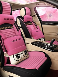 cheap -Four seasons universal pink cartoon car seat cushion for ladies/full package linen seat/lovely/Two head pillows and two waist pads/Airbag compatibility