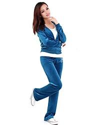 cheap -Women's Velour Running T-Shirt With Pants Winter Yoga Running Pilates Warm Softness Sportswear Tracksuit Clothing Suit Long Sleeve Activewear Stretchy / Cotton / Fleece / Velvet