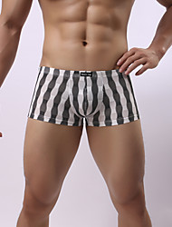 cheap -Men's Print Super Sexy Boxer Briefs Striped 1 Piece Black Light Blue Blushing Pink M L XL