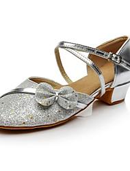 Недорогие -Жен. Танцевальная обувь Блестки Обувь для латины На каблуках На низком каблуке Персонализируемая Серебряный / В помещении / Тренировочные