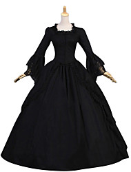cheap -Duchess Vintage Gothic Victorian Medieval 18th Century Dress Party Costume Masquerade Women's Lace Costume Black / Burgundy Vintage Cosplay Party Prom Long Sleeve Floor Length Ball Gown Plus Size