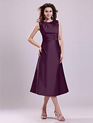 cheap -A-Line Mother of the Bride Dress Elegant Jewel Neck Tea Length Taffeta Sleeveless with Beading 2021