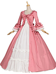 cheap -Princess Sweet Lolita Rococo Medieval Renaissance 18th Century Dress Party Costume Masquerade Women's Cotton Costume Burgundy / Pink Vintage Cosplay Party Prom Long Sleeve Floor Length Long Length