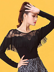 cheap -Latin Dance Women's Performance Ice Silk Lace Tassel Long Sleeves Top