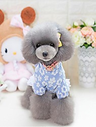 cheap -Cat Dog Dress Christmas Dog Clothes Party Casual/Daily Keep Warm Halloween Floral/Botanical Blue Pink Costume For Pets