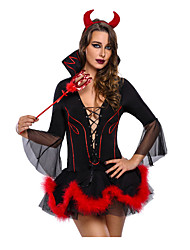 cheap -Devil Dress Maid Suits Women's Christmas Halloween Carnival Festival / Holiday Polyester Black Women's Carnival Costumes Solid Color Geometic