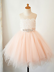 cheap -A-Line Knee Length Pageant Flower Girl Dresses - Lace / Tulle Sleeveless Jewel Neck with Lace / Sash / Ribbon