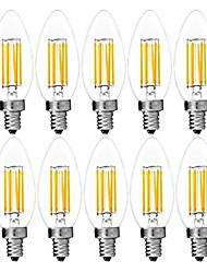 abordables -10pcs 6 W Ampoules à Filament LED 560 lm E14 C35 6 Perles LED COB Décorative Blanc Chaud Blanc Froid 220-240 V / RoHs