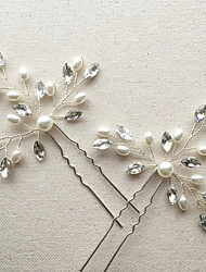 cheap -Imitation Pearl / Rhinestone Flowers / Hair Stick / Hair Pin with 1 Wedding / Special Occasion / Anniversary Headpiece