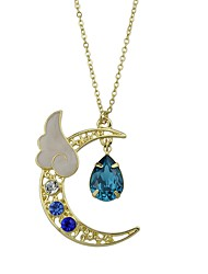 cheap -Women's Pendant Necklace Crescent Moon Simple Style Fashion Imitation Tourmaline Alloy Red Light Blue Necklace Jewelry For Casual Valentine