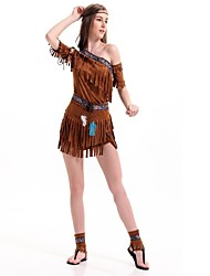 cheap -American Indian Cosplay Costume Masquerade Women's Christmas Halloween Carnival Festival / Holiday Poly / Cotton Coffee Women's Carnival Costumes Solid Color Fashion / Headwear