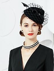 Недорогие -шерстяные перья фашинирующие шляпы головной убор классический женский стиль
