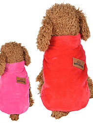 cheap -Cat Dog Vest Winter Dog Clothes Breathable Red Pink Costume Polyester Down Cotton Cartoon Casual / Daily Keep Warm Reversible XS S M L XL