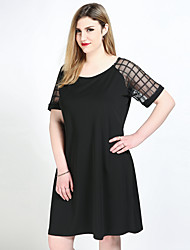 cheap -Women's Plus Size Black Dress Casual Active All Seasons Daily Loose Shift T Shirt Patchwork Solid Colored L XL