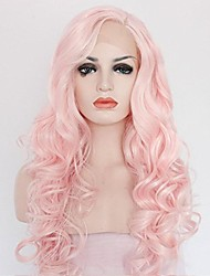 cheap -Synthetic Lace Front Wig Curly Wavy Curly Wavy Lace Front Wig Pink Medium Length Long Pink Synthetic Hair Women's Pink