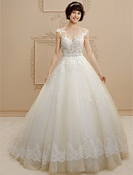 cheap -Ball Gown Scoop Neck Sweep / Brush Train Tulle / Floral Lace Cap Sleeve See-Through / Beautiful Back Made-To-Measure Wedding Dresses with Beading / Sashes / Ribbons 2020