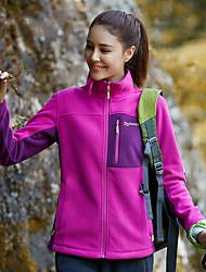 cheap -Women's Hiking Fleece Jacket Winter Outdoor Patchwork Warm Winter Fleece Jacket Fleece Full Length Visible Zipper Running Camping / Hiking Casual Purple / Fuchsia / Blue / Camping / Hiking / Caving