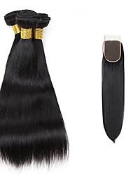 cheap -3 Bundles with Closure Brazilian Hair Straight Human Hair Natural Color Hair Weaves / Hair Bulk 12-24 inch Human Hair Weaves Human Hair Extensions / Short / 4x4 Closure