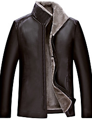 cheap -Men's Daily Winter Plus Size Regular Leather Jacket, Solid Colored Stand Long Sleeve PU Brown / Black