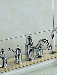 cheap -Tub And Shower Ceramic Valve Three Handles Five Holes Chrome, Bathtub Faucet
