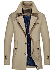 cheap -Men's Daily Spring / Fall Plus Size Long Trench Coat, Solid Colored Shirt Collar Long Sleeve Acrylic / Polyester Black / Light Blue / Navy Blue
