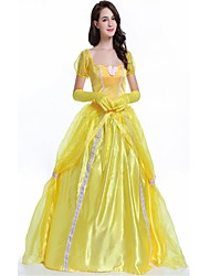 cheap -Princess Queen Goddess Dress Party Costume Masquerade Women's Christmas Halloween Carnival Festival / Holiday Spandex Yellow Women's Carnival Costumes Solid Color Fashion / Gloves / Belle