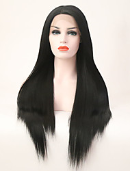 cheap -Synthetic Lace Front Wig Straight Lace Front Wig Long Natural Black Synthetic Hair Women's Black