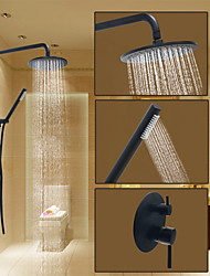 cheap -Shower Set Set - Rainfall Round Oil-rubbed Bronze Wall Mounted Ceramic Valve Bath Shower Mixer Taps
