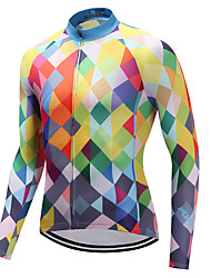 cheap -FUALRNY® Men's Long Sleeve Cycling Jersey Winter Fleece Coolmax® Lycra Orange Plaid / Checkered Bike Jersey Top Mountain Bike MTB Road Bike Cycling Quick Dry Sports Clothing Apparel / High Elasticity