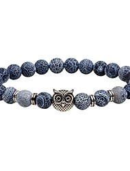 cheap -Men's Women's Onyx Bead Bracelet Owl Chakra Vintage equilibrio Natural Stone Bracelet Jewelry White / Black For Casual Going out