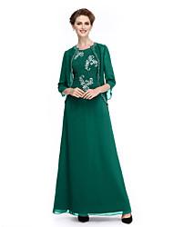 abordables -Trapèze Bijoux Longueur Cheville Mousseline de soie Manches 3/4 Brille & Scintille Robe de Mère de Mariée  avec Billes / Détail Cristal 2020