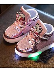 cheap -Girls' LED / Comfort PU Sneakers Little Kids(4-7ys) Gold / Silver / Fuchsia Fall / Winter