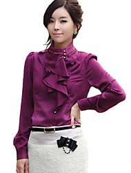 cheap -Women's Work Punk & Gothic Shirt - Solid Colored Ruffle Stand White