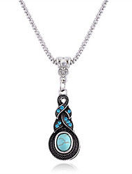 cheap -Women's Turquoise Pendant Necklace Ball Ladies Vintage Bohemian Boho Turquoise Alloy Light Blue Necklace Jewelry For Gift Casual