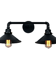 cheap -Vintage Industrial Pipe Wall Lights Black Metal Shade Restaurant Cafe Bar Wall Sconces 2-Light Painted Finish