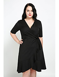 cheap -Women's Plus Size Blushing Pink Black Dress Street chic Fall Daily A Line Solid Colored V Neck Ruffle XXL XXXL / Cotton