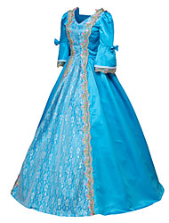 cheap -Punk Lolita Rococo Victorian 18th Century Dress Party Costume Masquerade Ball Gown Women's Girls' Satin Costume Blue Vintage Cosplay Long Sleeve Floor Length Ball Gown Plus Size Customized
