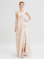 cheap -Sheath / Column V Neck Floor Length Chiffon / Floral Lace Sleeveless Open Back / Furcal Mother of the Bride Dress with Criss Cross / Ruffles / Split Front 2020