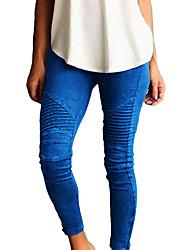 cheap -Women's Weekend Basic Legging - Solid Colored Mid Waist Green Black Wine XL XXL XXXL / Skinny