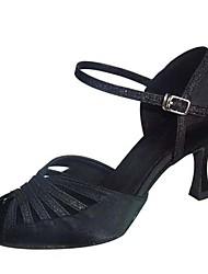 cheap -Women's Latin Shoes Satin Clasp Lock Sandal / Heel Buckle Customized Heel Customizable Dance Shoes Black / Professional
