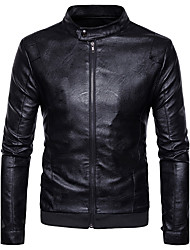 cheap -Men's Daily Street chic Winter Regular Jacket, Solid Colored Stand Long Sleeve Polyester Brown / Black