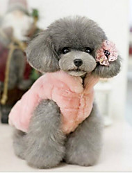 cheap -Cat Dog Christmas Fleece Coat Winter Dog Clothes Fuchsia Pink Beige Costume Cotton Solid Colored Dresses&Skirts Casual / Daily Warm Ups S M L