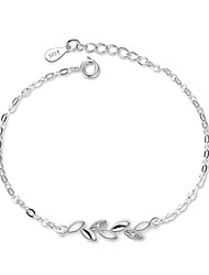 cheap -Women's Cubic Zirconia Chain Bracelet Leaf Dainty Ladies Delicate Cubic Zirconia Bracelet Jewelry Silver For Gift Daily / Silver Plated