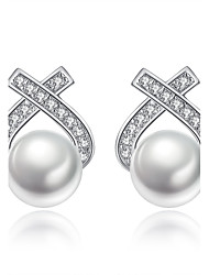 cheap -Women's Cubic Zirconia Stud Earrings Ladies Silver Plated Earrings Jewelry Silver For Gift Evening Party