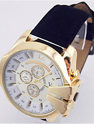 cheap -Men's Quartz Leather Analog Black / Gold Black / White Gold / White