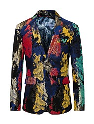 cheap -Men's Party / Going out / Club Active Fall / Winter Regular Blazer, Color Block / Camo / Camouflage Notch Lapel Long Sleeve Polyester Rainbow