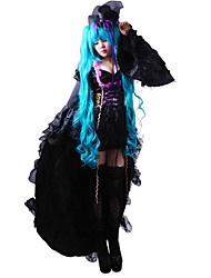 cheap -Inspired by Vocaloid Hatsune Miku Video Game Cosplay Costumes Dresses / Hat / Cap Solid Colored Long Sleeve Dress Hat Costumes / Satin