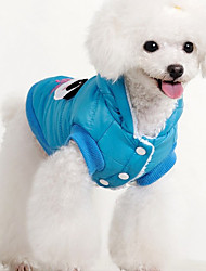 cheap -Dog Vest Puffer / Down Jacket Dog Clothes British Blue Pink Cotton Fabric Cotton Costume For Spring &  Fall Winter Men's Women's Casual / Daily