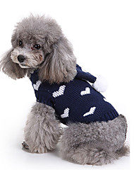 cheap -Dog Sweater Dog Clothes Heart Acrylic Fibers Costume For Spring &  Fall Winter Men's Women's Casual / Daily