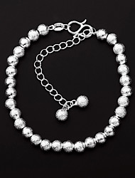 cheap -Women's Chain Bracelet Ball Drop Ladies Classic Vintage Simple Style Fashion Silver Plated Bracelet Jewelry Silver For Birthday Gift Casual Evening Party